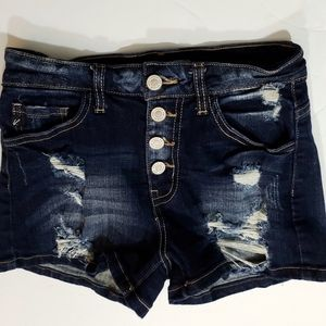 Kancan High Rise Distressed Shorts Size 25